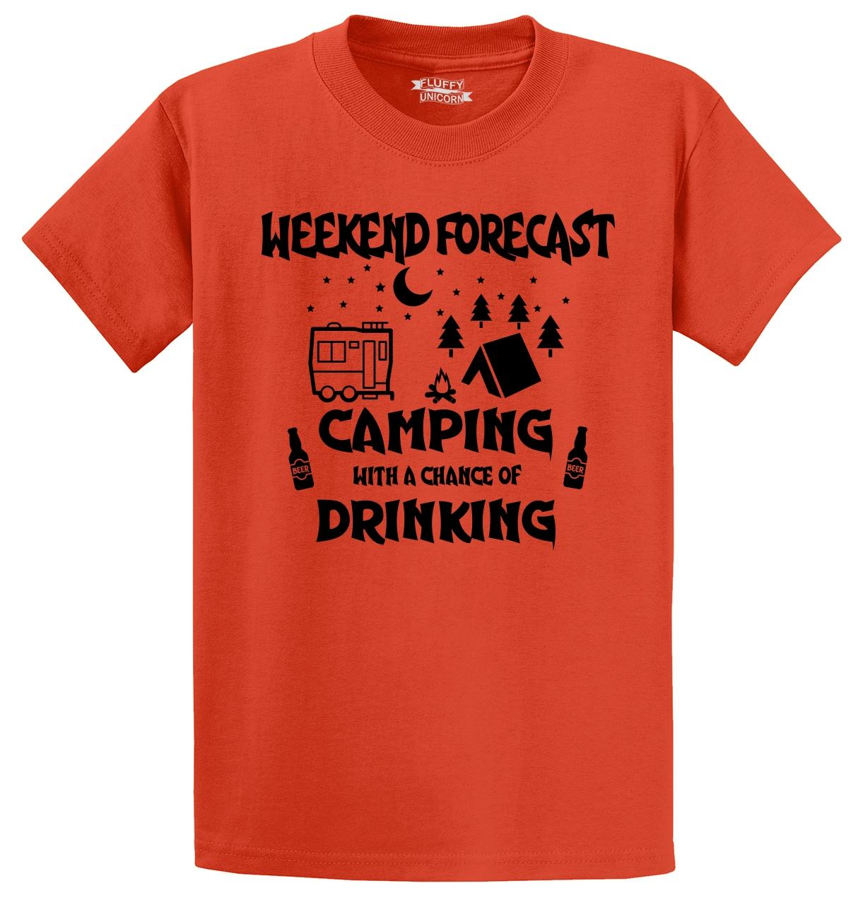 Weekend-Forecast-Camping-Chance-Drinking-Funny-T-Shirt-Camper-Graphic-Tee thumbnail 27
