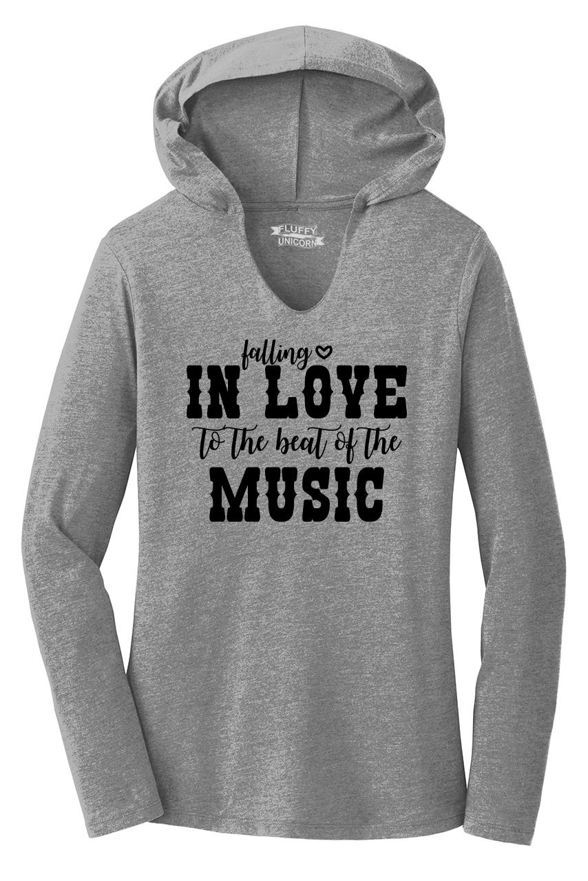 falling in love to the beat music ladies hoodie t shirt country music concert ebay. Black Bedroom Furniture Sets. Home Design Ideas