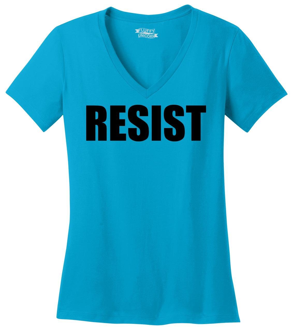 thumbnail 13 - Resist-Ladies-V-Neck-T-Shirt-Anti-Donald-Trump-Protest-Tee-Rally-Resist-Trump-Z5