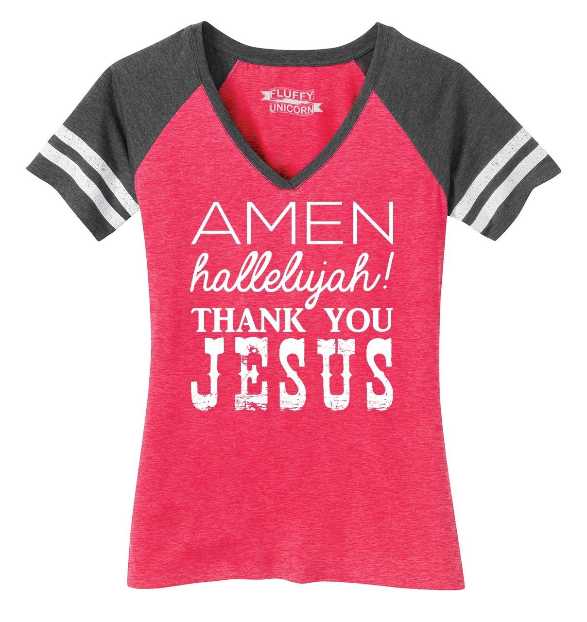Ladies-Amen-Hallelujah-Thank-you-Jesus-Game-V-Neck-Tee-Religious-Shirt thumbnail 14