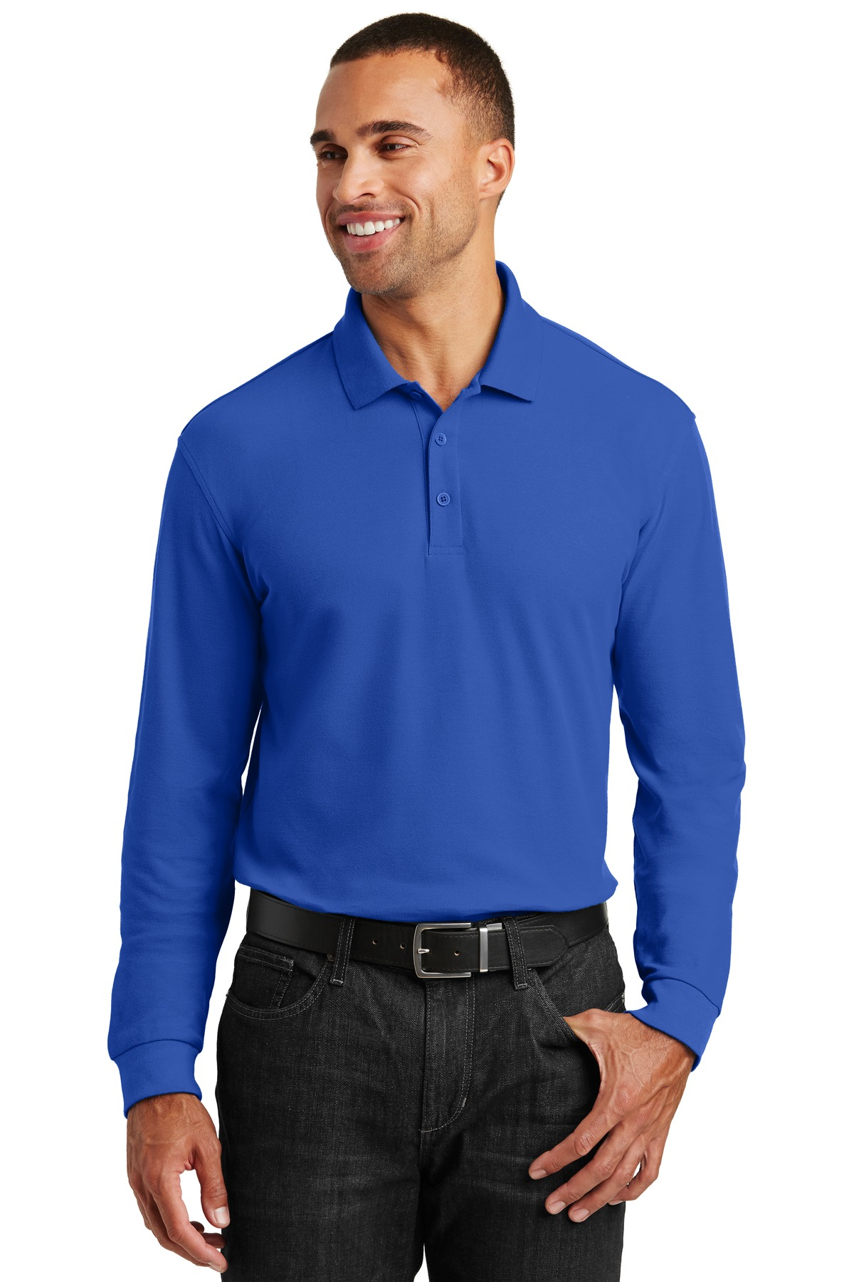Port-Authority-Mens-Long-Sleeve-Core-Classic-Pique-Polo-Golf-Shirt-K100LS