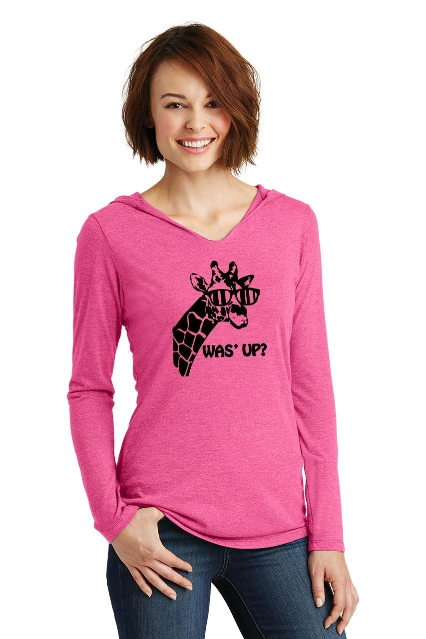 Ladies-Was-039-Up-Giraffe-Cute-Graphic-Animal-Shirt-Hoodie-Shirt thumbnail 9