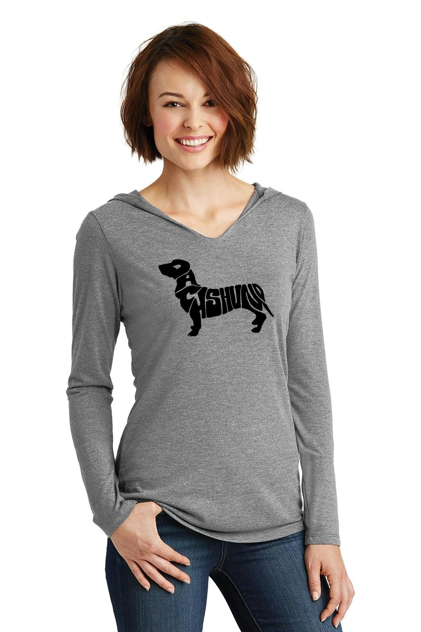 Ladies-Dachshund-Hoodie-Shirt-Dog-Animal-Graphic-T-Shirt thumbnail 12