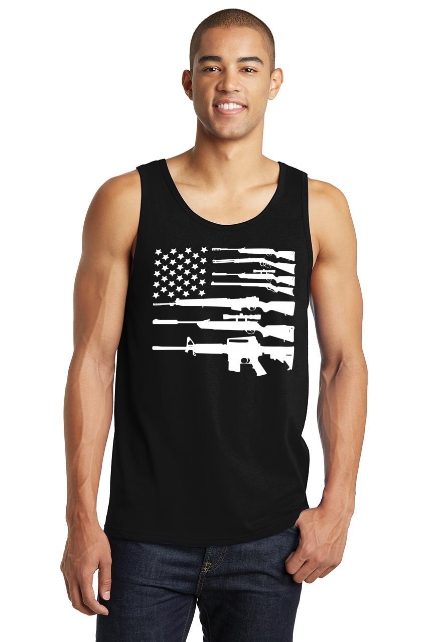 Distressed American Flag Mens Tank Top American Pride USA July 4th Sleeveless Z3