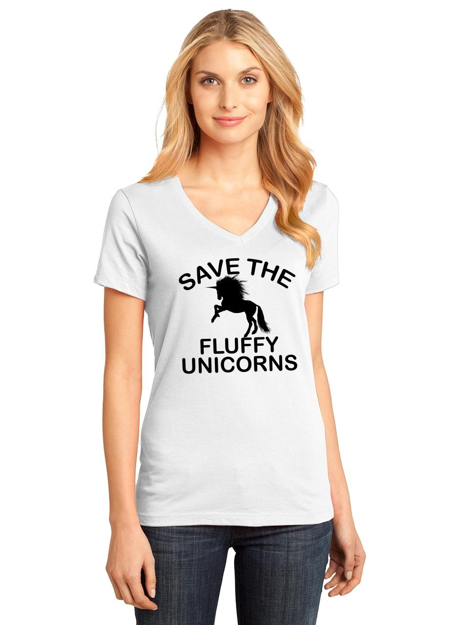 Ladies-Save-The-Fluffy-Unicorns-V-neck-Tee-Fat-Chubby-Horse-Shirt thumbnail 19