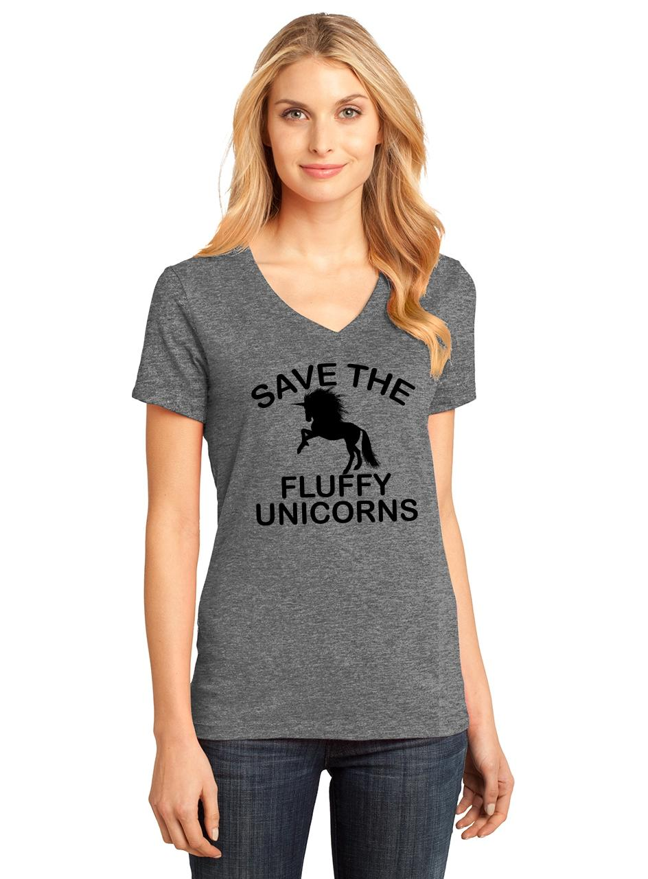 Ladies-Save-The-Fluffy-Unicorns-V-neck-Tee-Fat-Chubby-Horse-Shirt thumbnail 13
