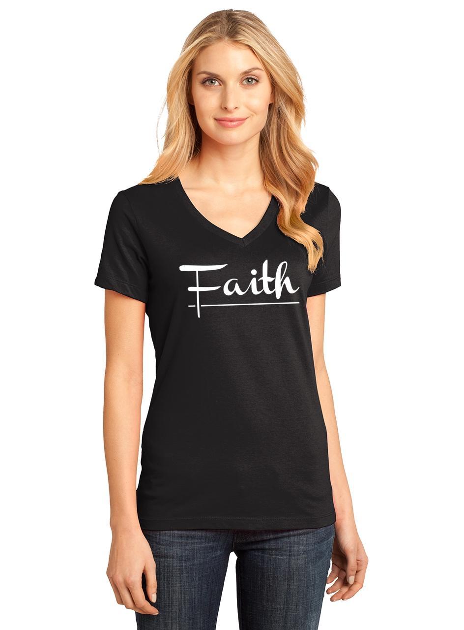 Ladies-Faith-V-neck-Tee-Religious-Christian-God-Shirt thumbnail 6