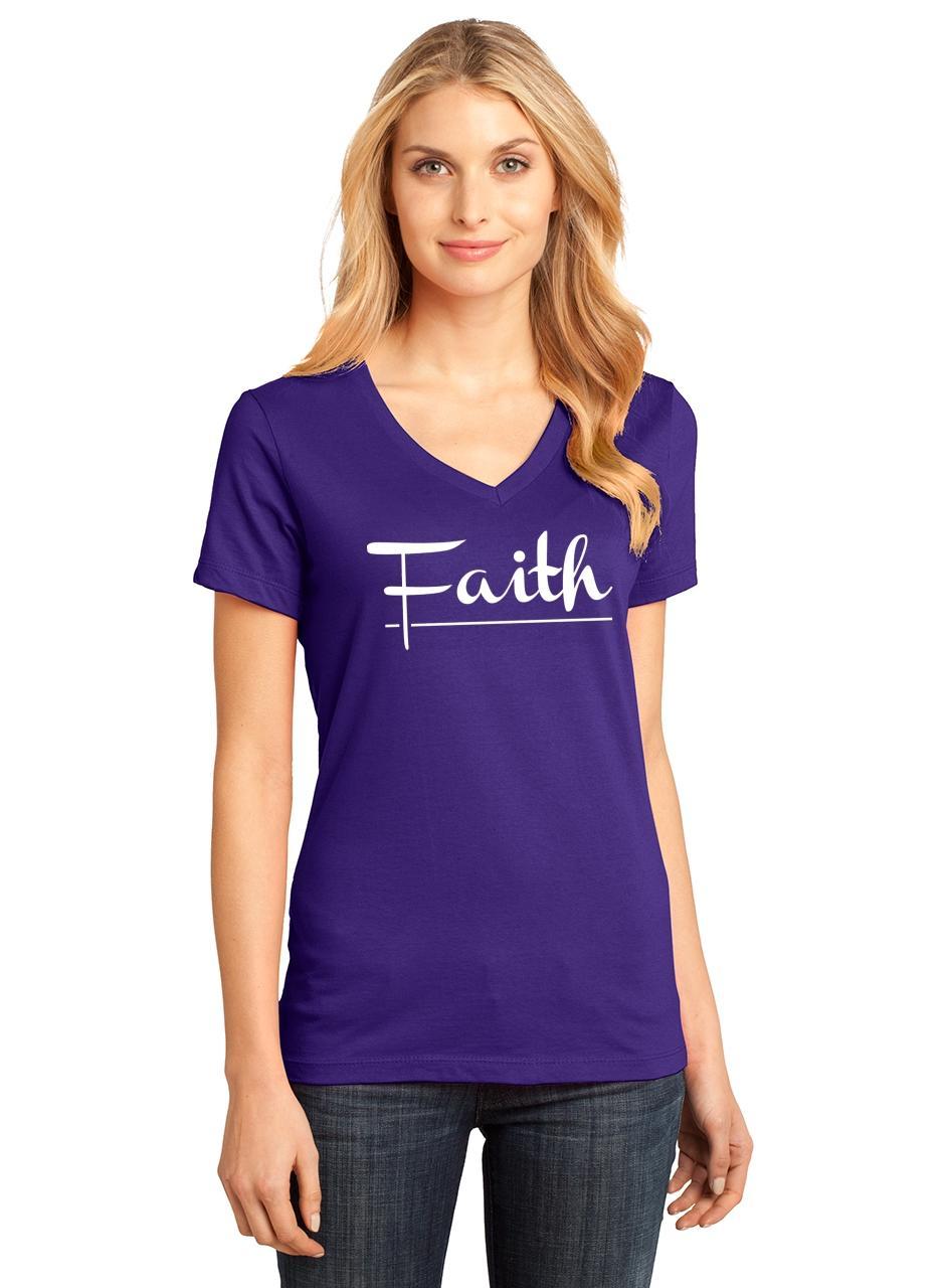 Ladies-Faith-V-neck-Tee-Religious-Christian-God-Shirt thumbnail 12