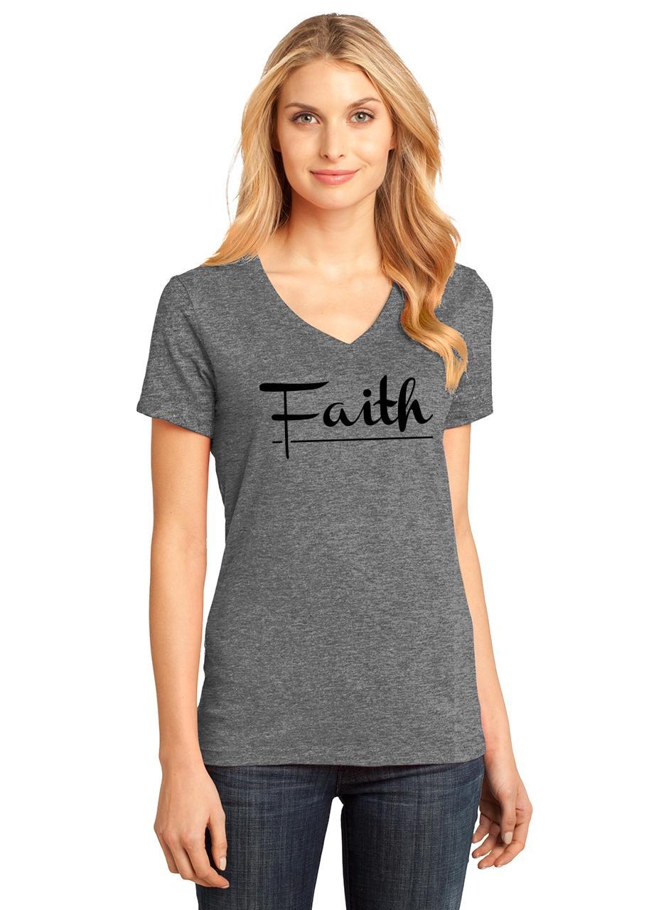 Ladies-Faith-V-neck-Tee-Religious-Christian-God-Shirt thumbnail 15
