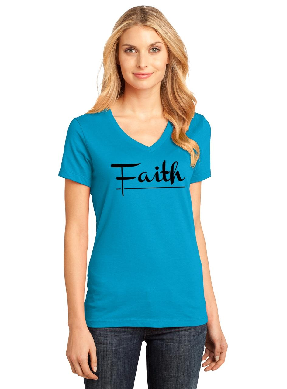 Ladies-Faith-V-neck-Tee-Religious-Christian-God-Shirt thumbnail 18