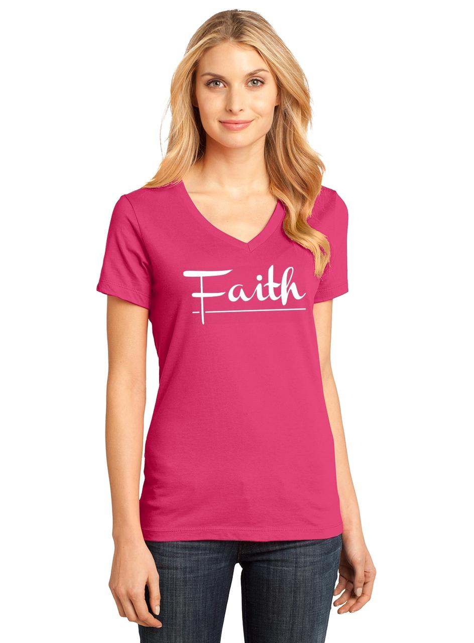 Ladies-Faith-V-neck-Tee-Religious-Christian-God-Shirt thumbnail 9
