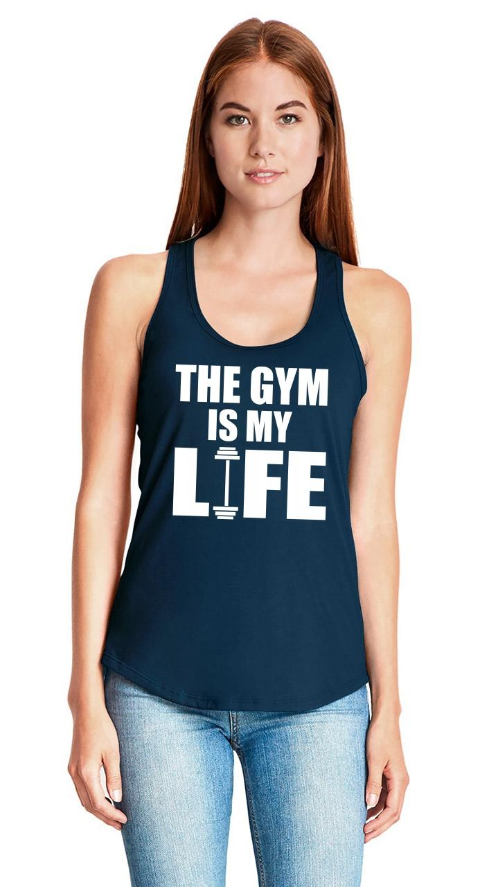 The-Gym-Is-My-Life-Ladies-Tank-Top-Workout-Gym-Fitness-Trainer-Gift-Racerback-Z6 thumbnail 15