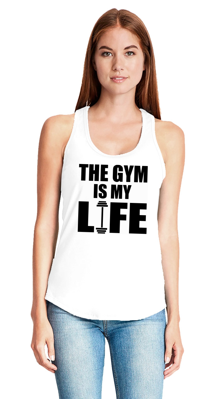 The-Gym-Is-My-Life-Ladies-Tank-Top-Workout-Gym-Fitness-Trainer-Gift-Racerback-Z6 thumbnail 6