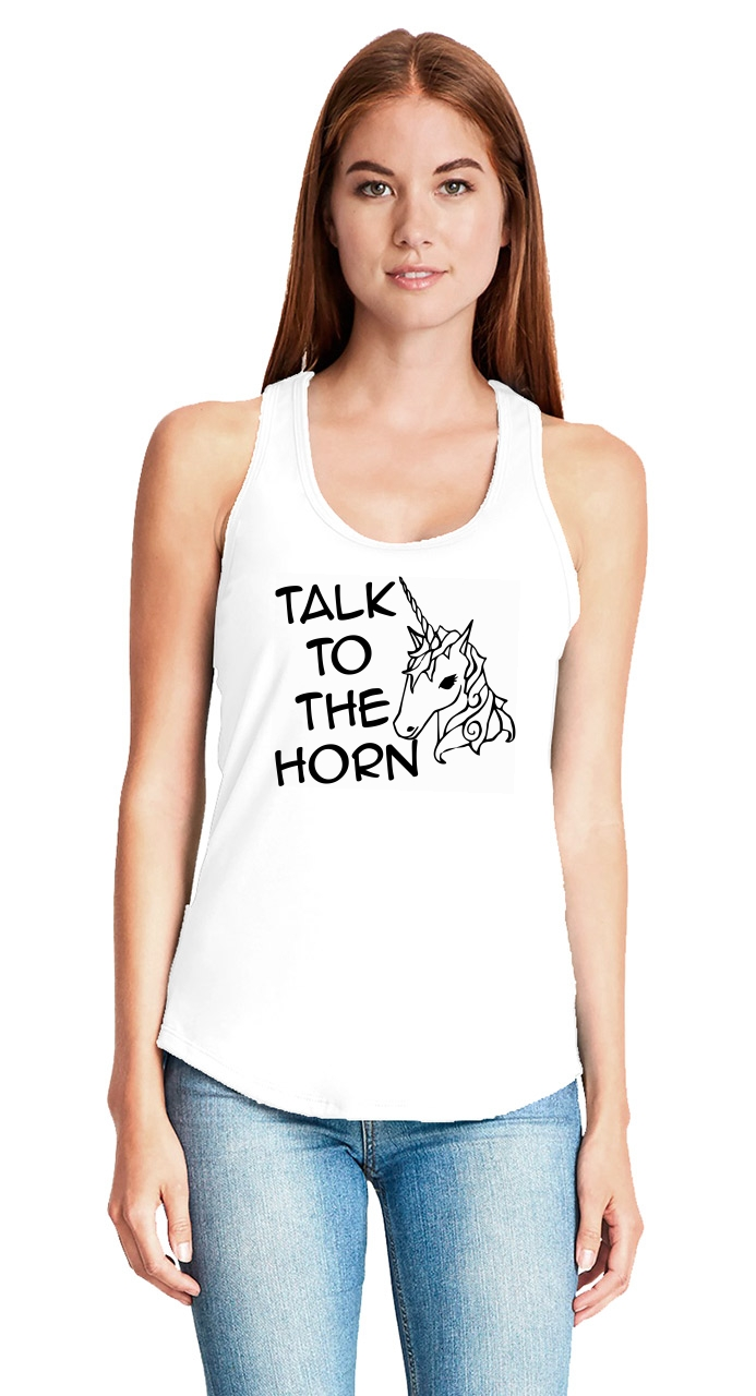 Talk-To-The-Horn-Funny-Unicorn-Ladies-Tank-Top-Cute-Holiday-Gift-Racerback-Z6 thumbnail 6