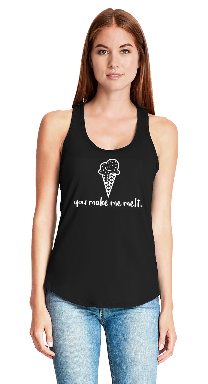 You-Make-Me-Melt-Ladies-Tank-Top-Valentines-Day-Gift-Ice-Cream-Graphic-Tee-Z6 thumbnail 9
