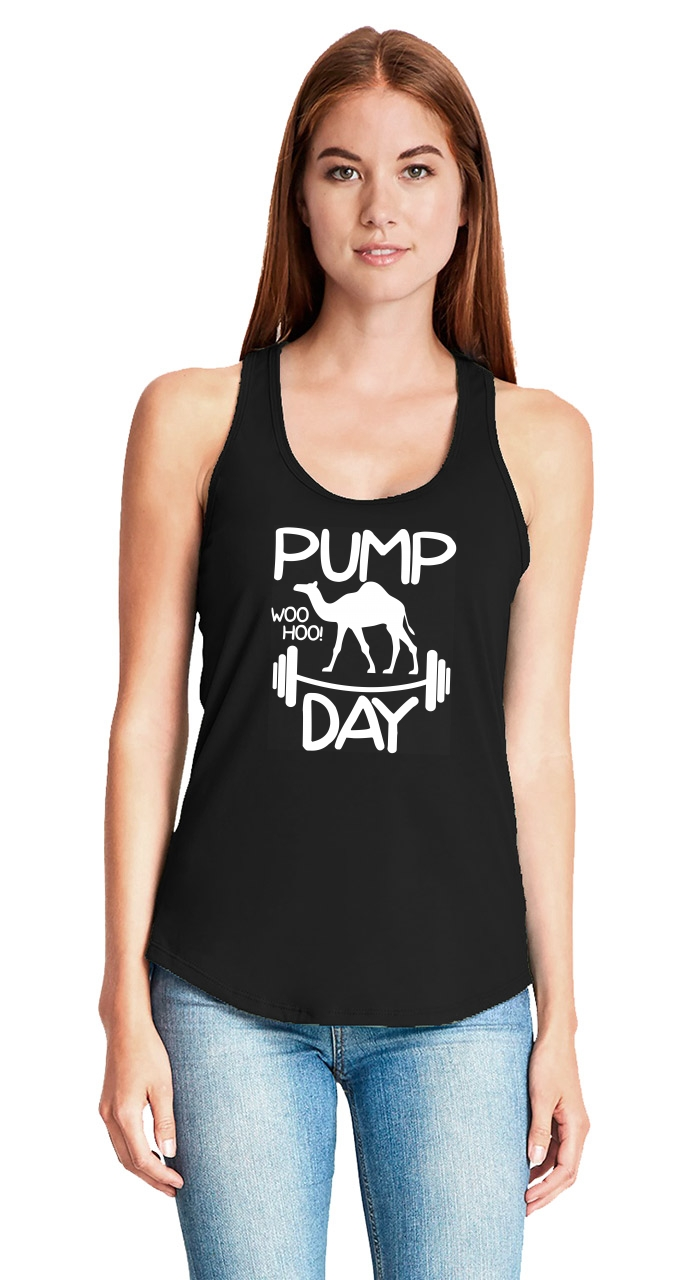 5fe527e4 Pump Day WooHoo Funny Ladies Tank Top Workout Gym Camel Graphic Tee ...