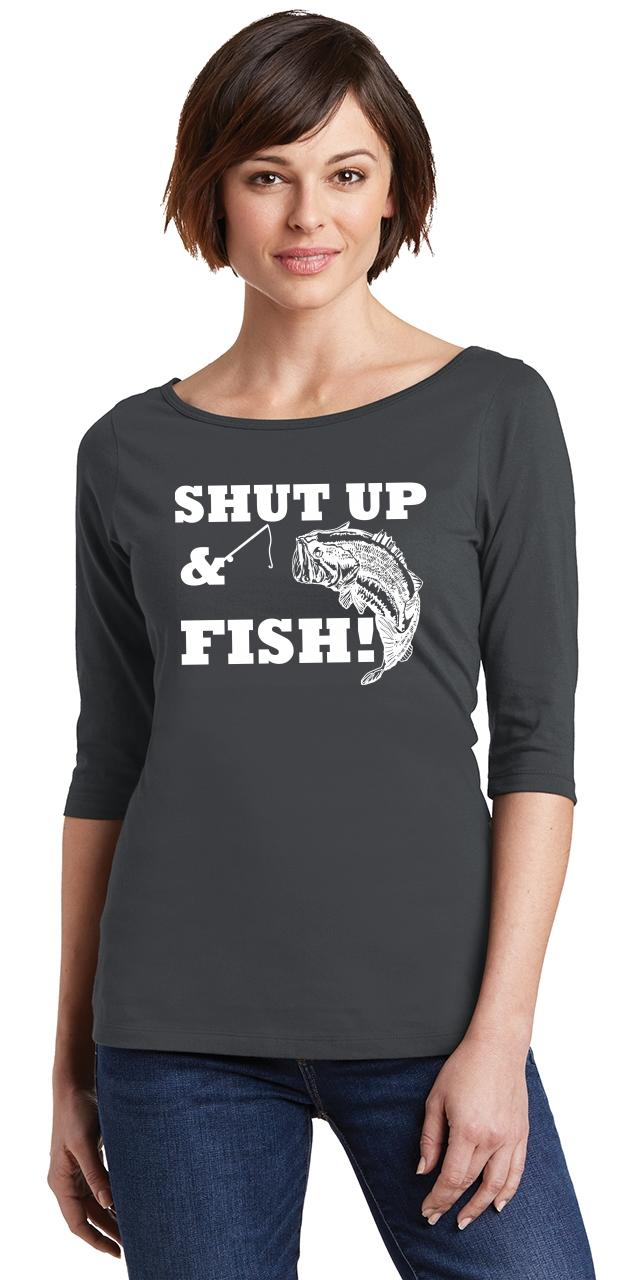 ce59cf984 Ladies Shut Up & Fish Funny Country Song Fishing Trip Redneck Tee ...