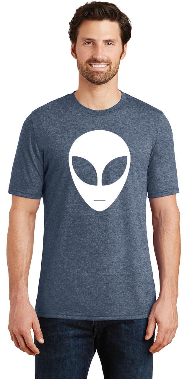 Comical Shirt Ladies Alien Face Chest Print Tee Space Nerd Tri-Blend Tank Top