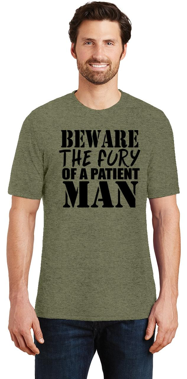 Mens-Beware-Fury-Of-Patient-Man-Tri-Blend-Tee-Anger-Quotes miniatura 50