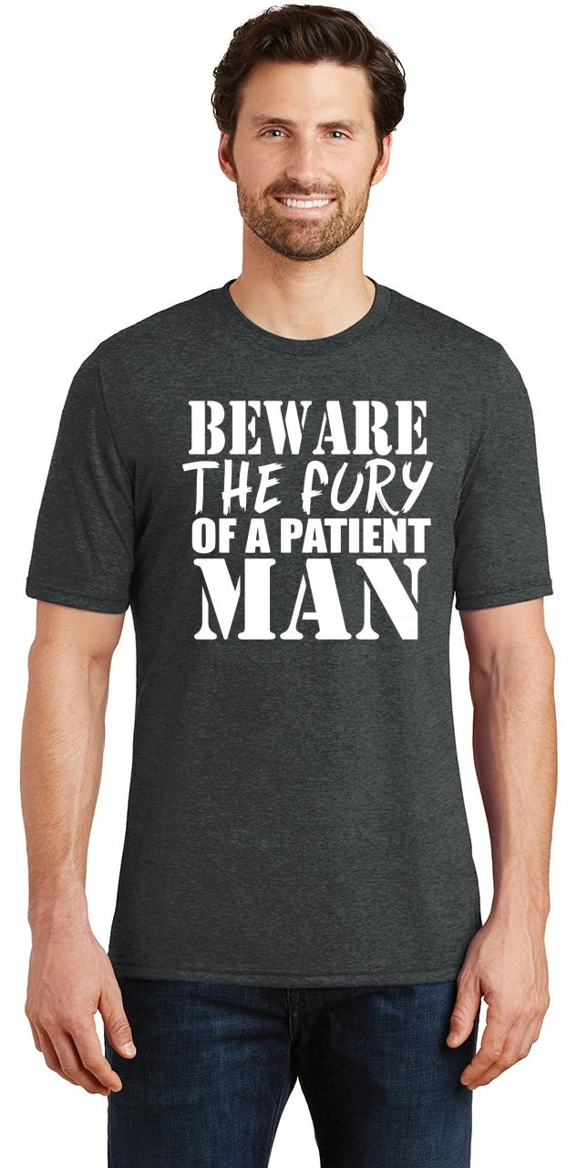 Mens-Beware-Fury-Of-Patient-Man-Tri-Blend-Tee-Anger-Quotes miniatura 10