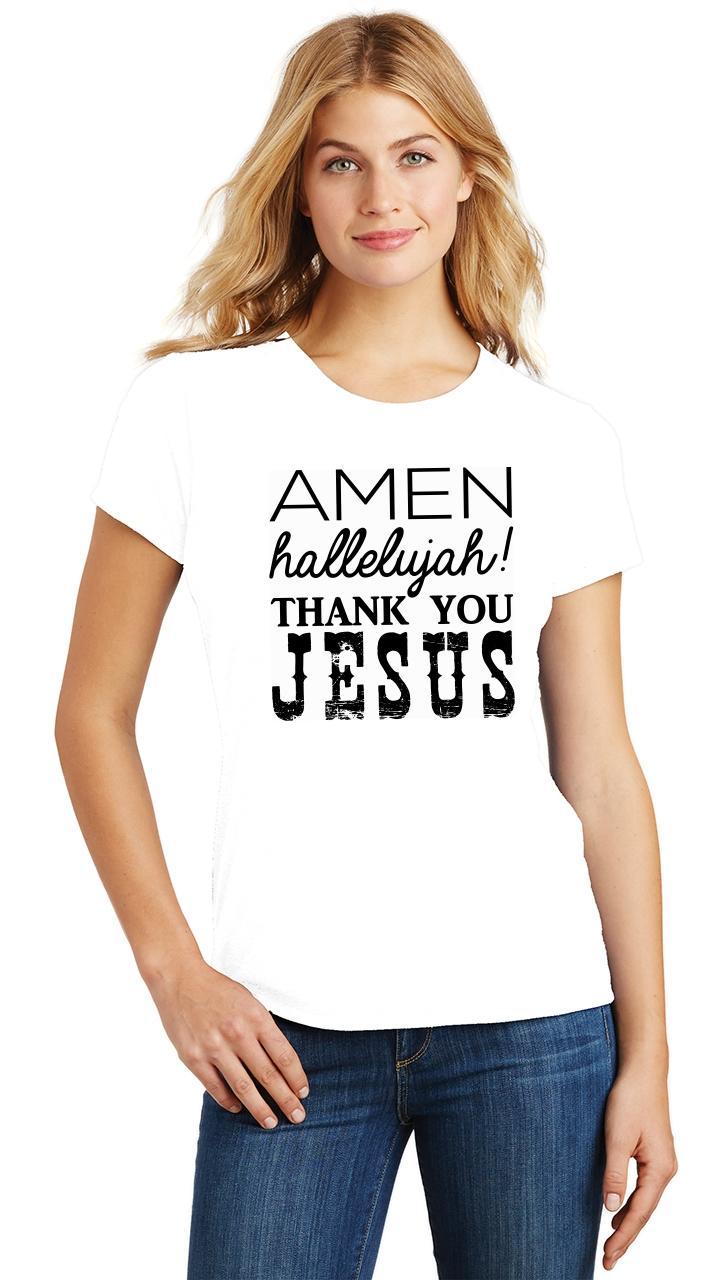 Ladies-Amen-Hallelujah-Thank-you-Jesus-Tri-Blend-Tee-Religious-Christian-Shirt thumbnail 36