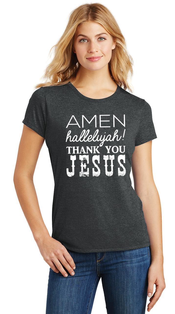 Ladies-Amen-Hallelujah-Thank-you-Jesus-Tri-Blend-Tee-Religious-Christian-Shirt thumbnail 6