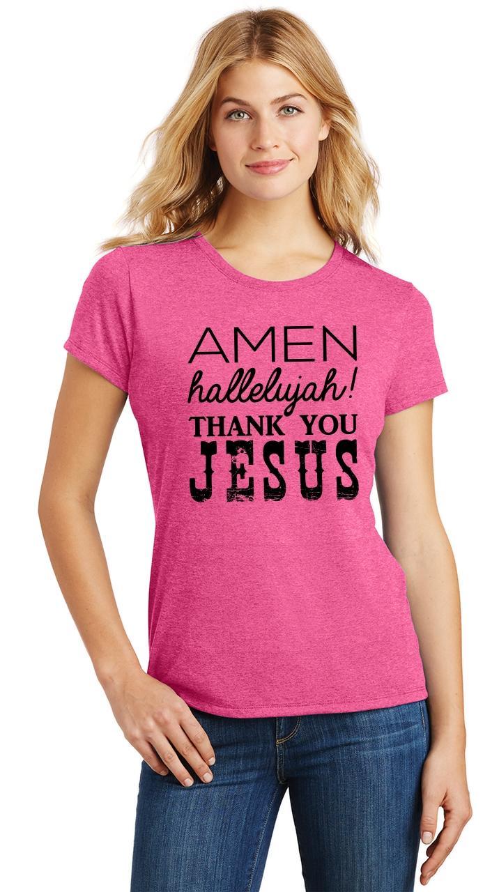 Ladies-Amen-Hallelujah-Thank-you-Jesus-Tri-Blend-Tee-Religious-Christian-Shirt thumbnail 9