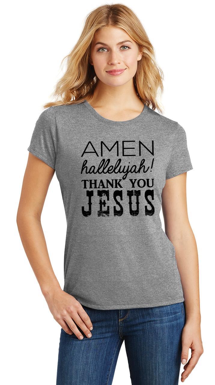 Ladies-Amen-Hallelujah-Thank-you-Jesus-Tri-Blend-Tee-Religious-Christian-Shirt thumbnail 15