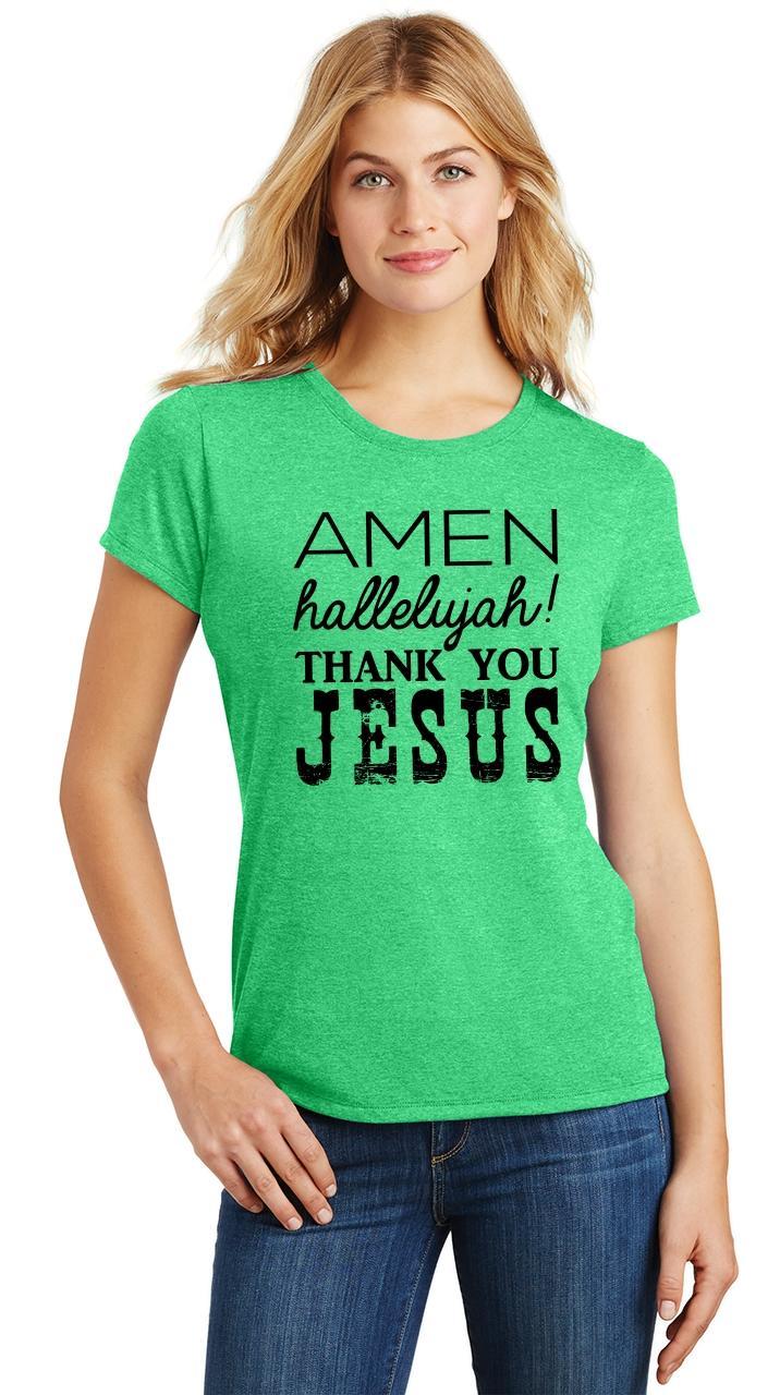 Ladies-Amen-Hallelujah-Thank-you-Jesus-Tri-Blend-Tee-Religious-Christian-Shirt thumbnail 12