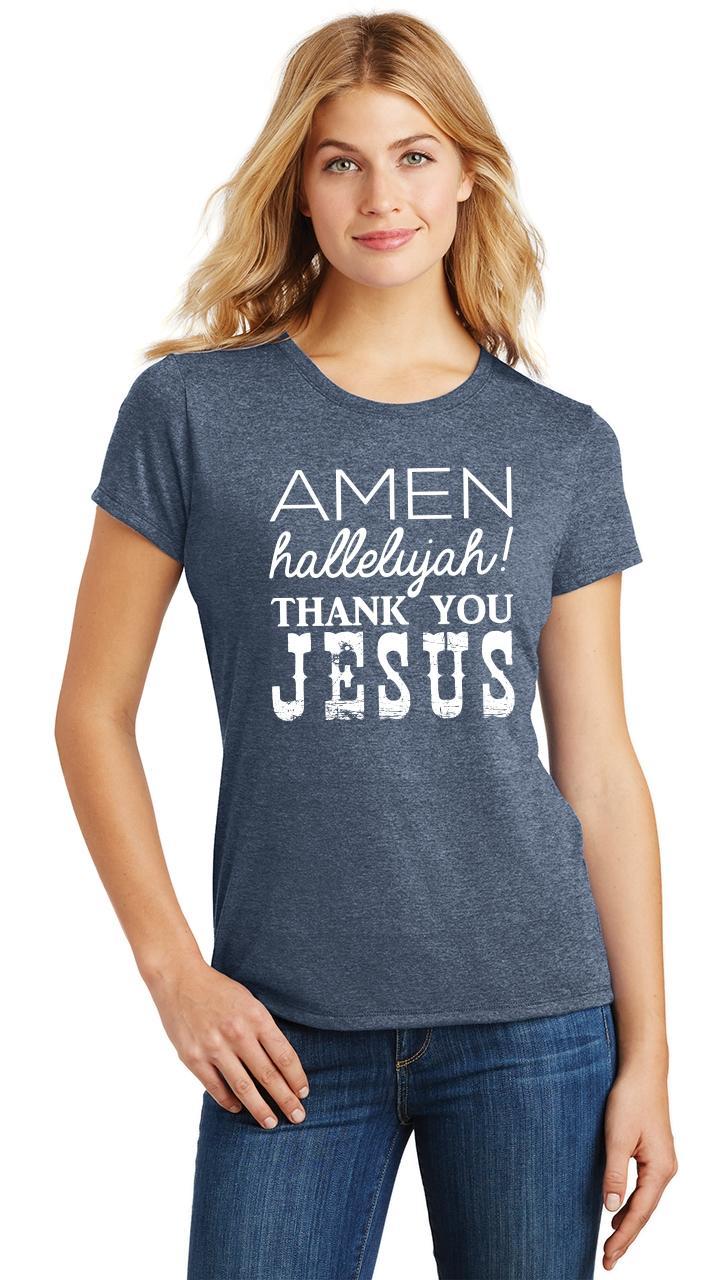 Ladies-Amen-Hallelujah-Thank-you-Jesus-Tri-Blend-Tee-Religious-Christian-Shirt thumbnail 21