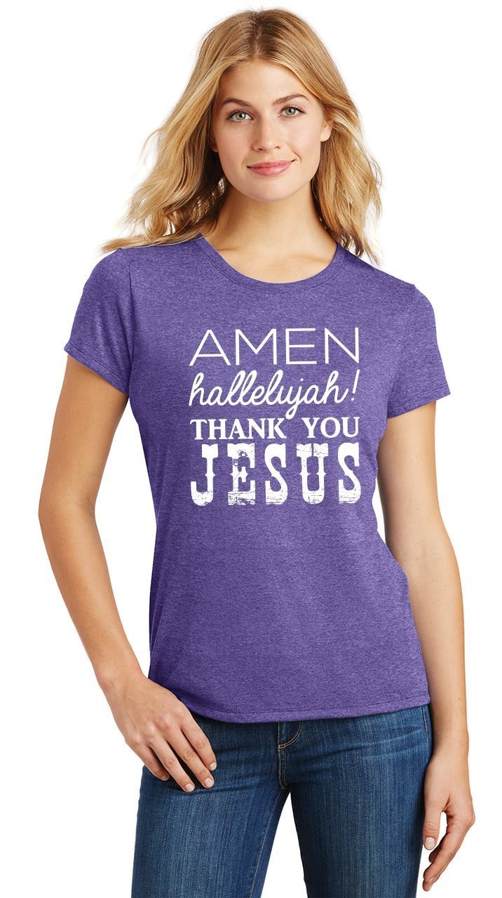 Ladies-Amen-Hallelujah-Thank-you-Jesus-Tri-Blend-Tee-Religious-Christian-Shirt thumbnail 24