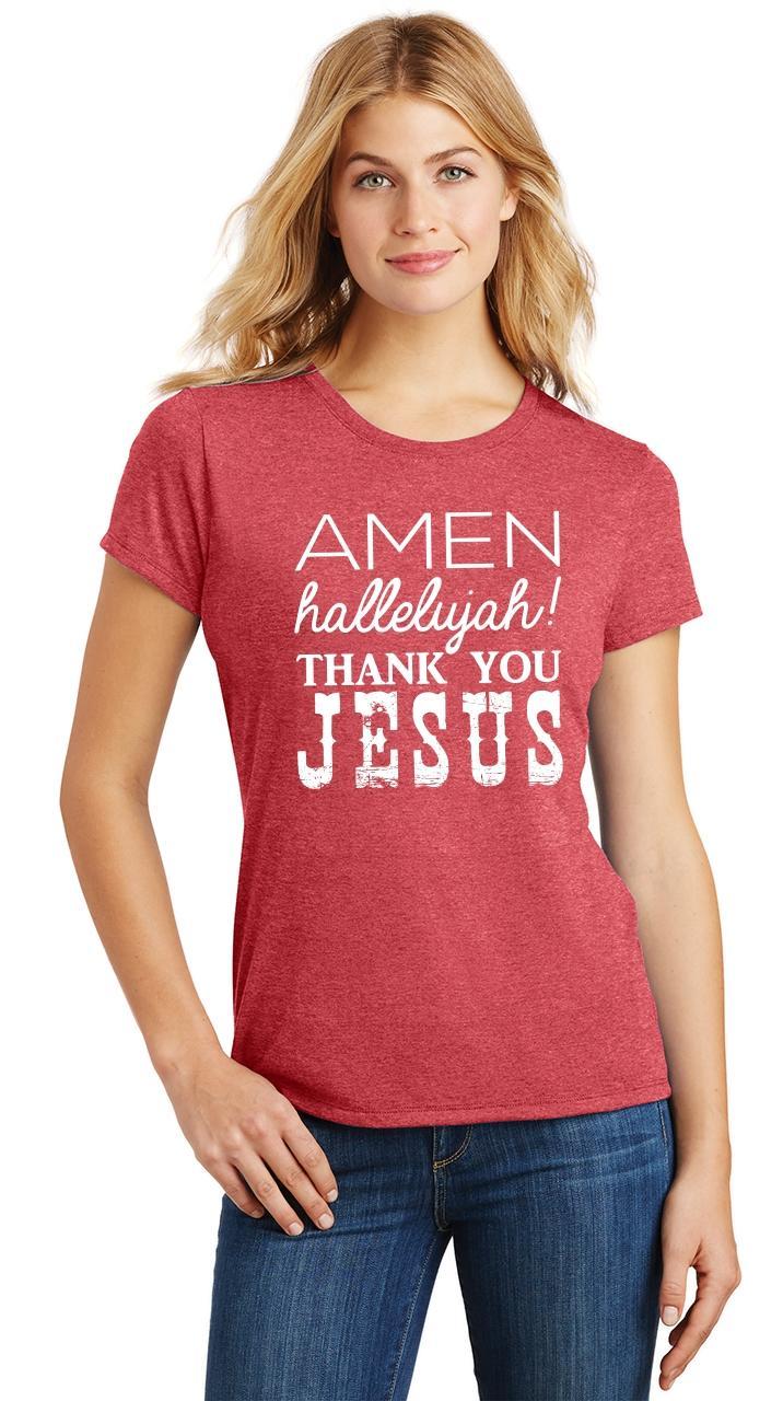 Ladies-Amen-Hallelujah-Thank-you-Jesus-Tri-Blend-Tee-Religious-Christian-Shirt thumbnail 27