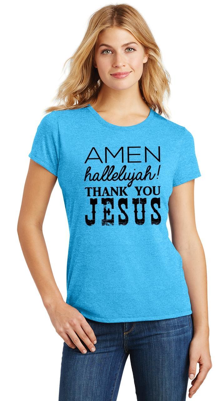 Ladies-Amen-Hallelujah-Thank-you-Jesus-Tri-Blend-Tee-Religious-Christian-Shirt thumbnail 33