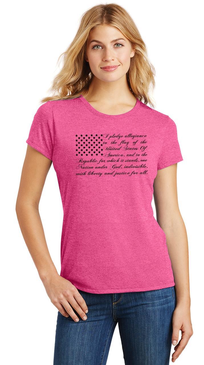 8feece46af016 Ladies Pledge of Allegiance American Flag Tri-Blend Tee Usa American ...