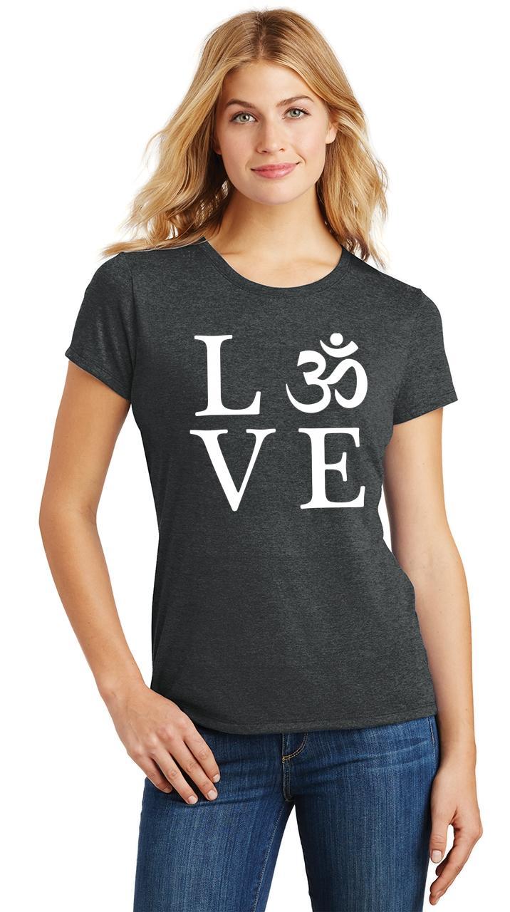 Ladies-Love-Om-Tri-Blend-Tee-Yoga-Peace-Calm-Shirt thumbnail 6