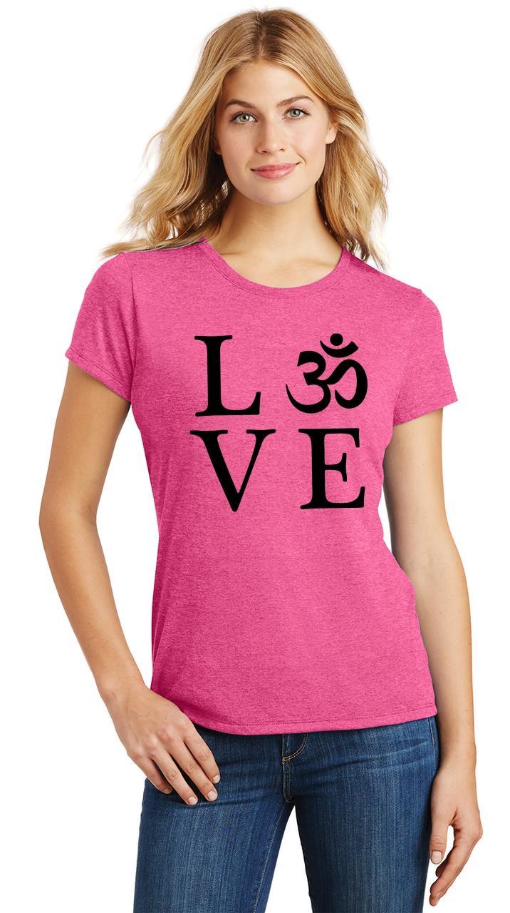 Ladies-Love-Om-Tri-Blend-Tee-Yoga-Peace-Calm-Shirt thumbnail 9