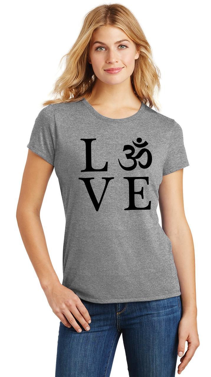 Ladies-Love-Om-Tri-Blend-Tee-Yoga-Peace-Calm-Shirt thumbnail 15
