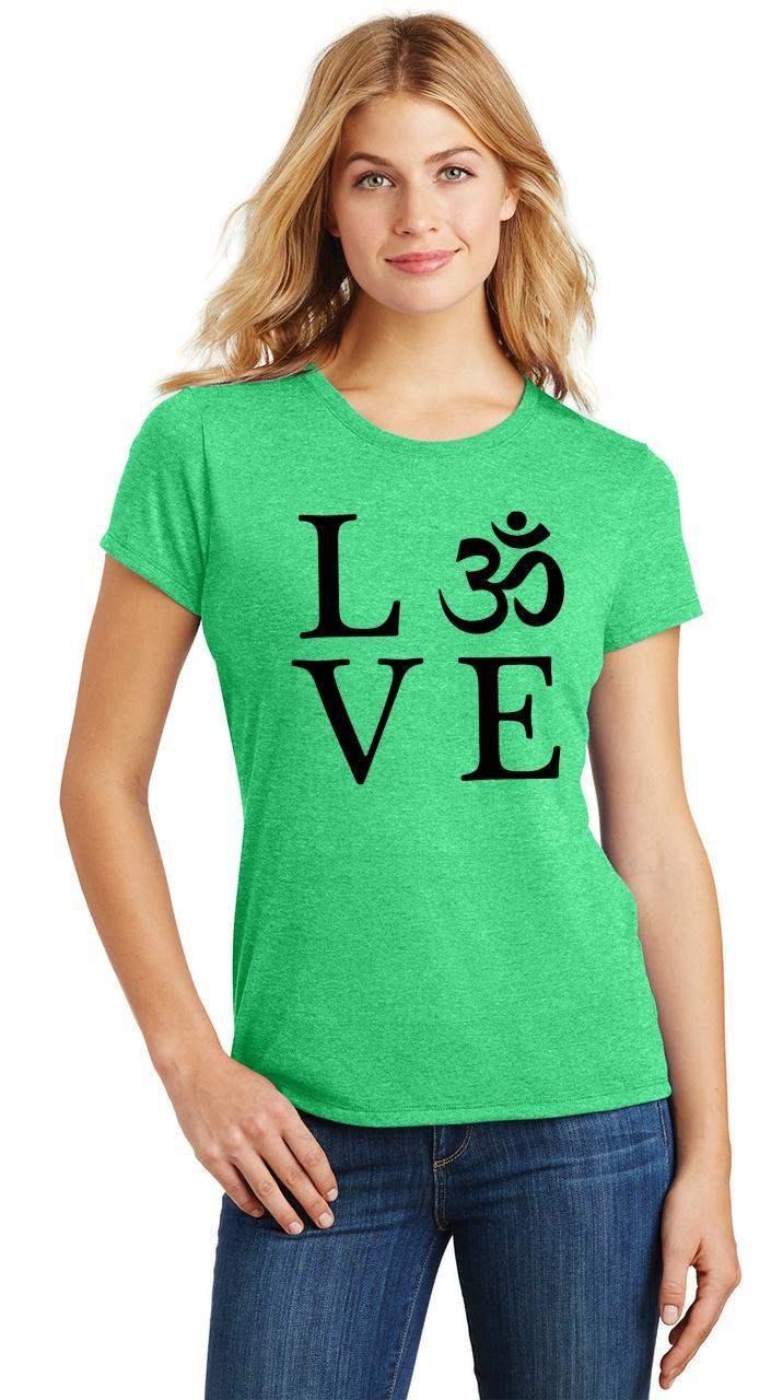 Ladies-Love-Om-Tri-Blend-Tee-Yoga-Peace-Calm-Shirt thumbnail 12