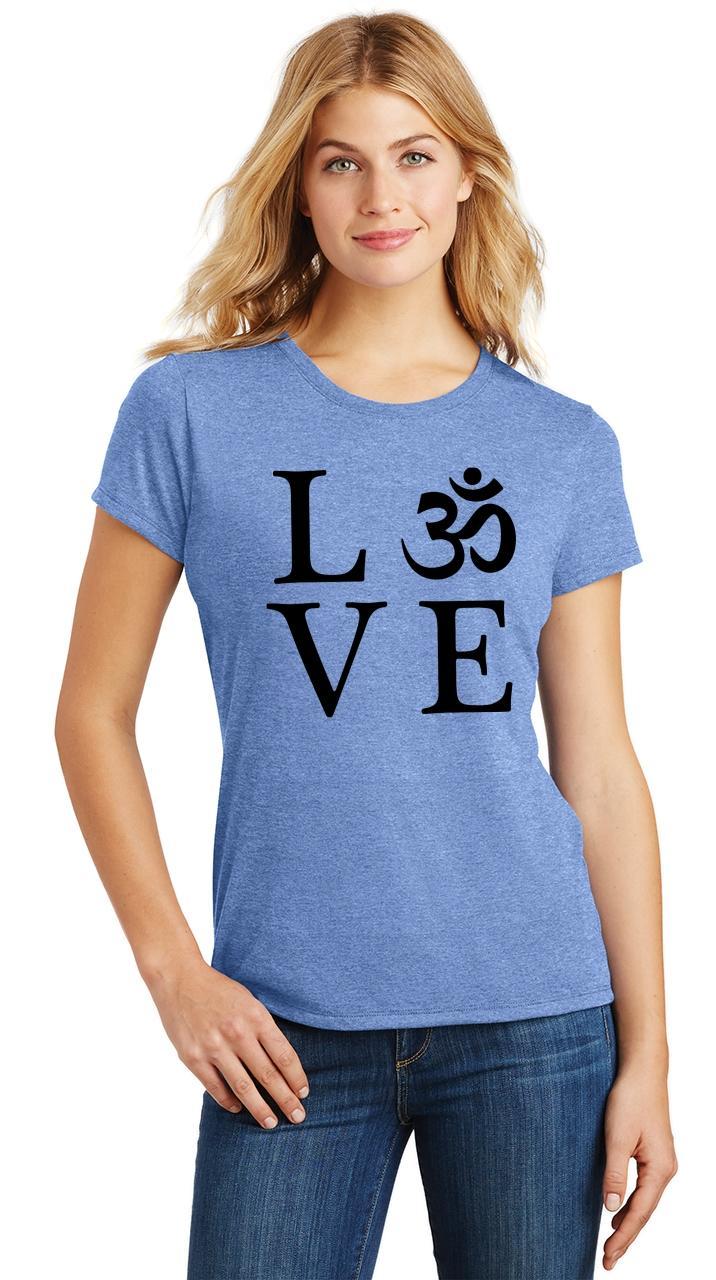 Ladies-Love-Om-Tri-Blend-Tee-Yoga-Peace-Calm-Shirt thumbnail 18