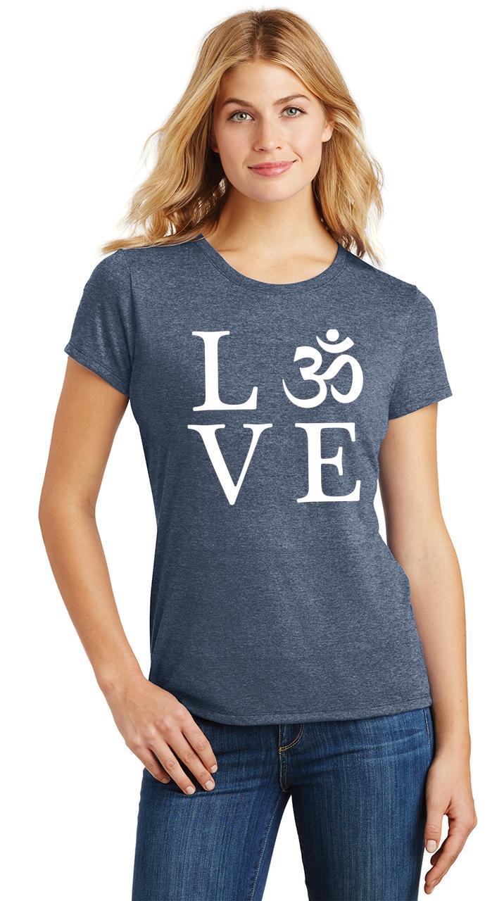 Ladies-Love-Om-Tri-Blend-Tee-Yoga-Peace-Calm-Shirt thumbnail 21