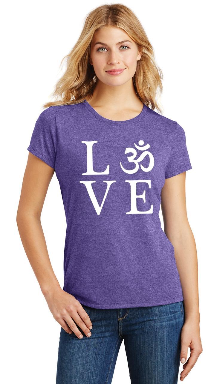 Ladies-Love-Om-Tri-Blend-Tee-Yoga-Peace-Calm-Shirt thumbnail 24
