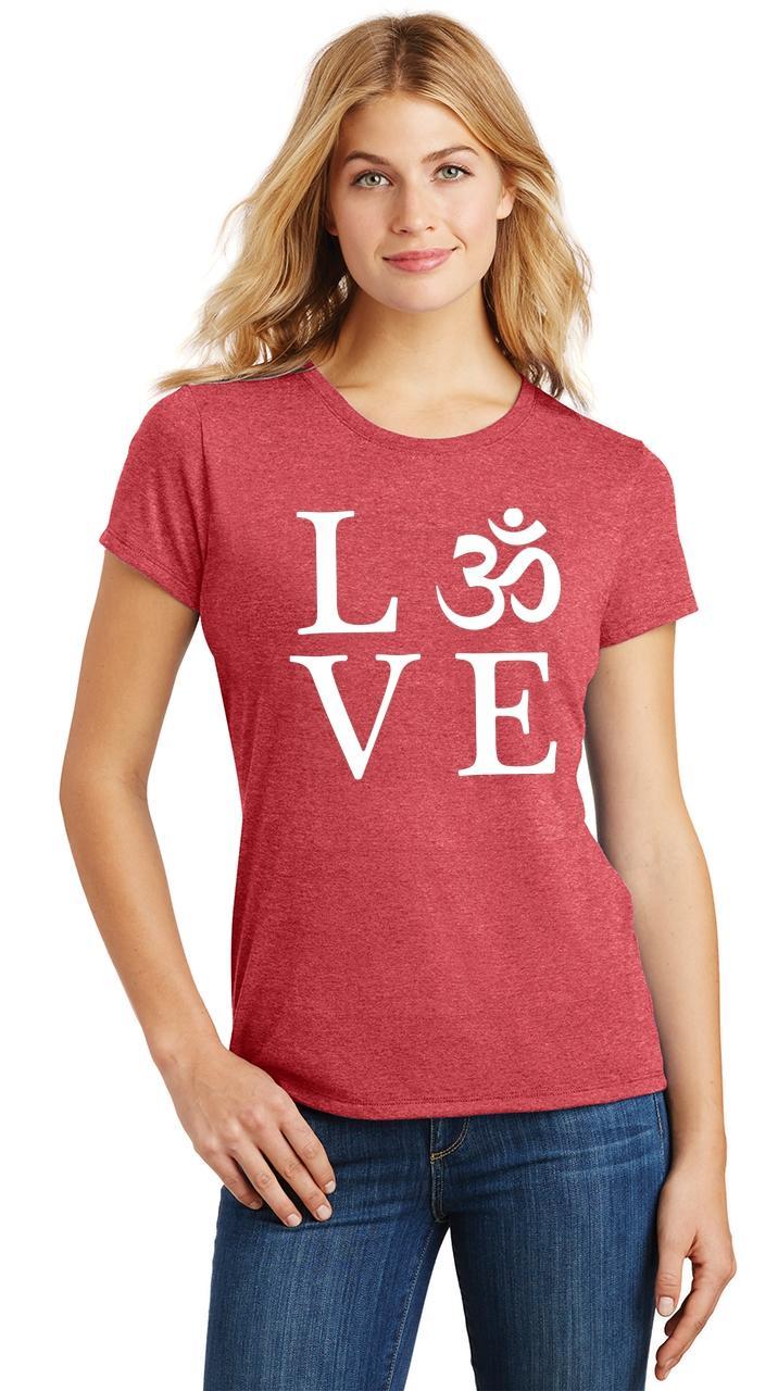 Ladies-Love-Om-Tri-Blend-Tee-Yoga-Peace-Calm-Shirt thumbnail 27