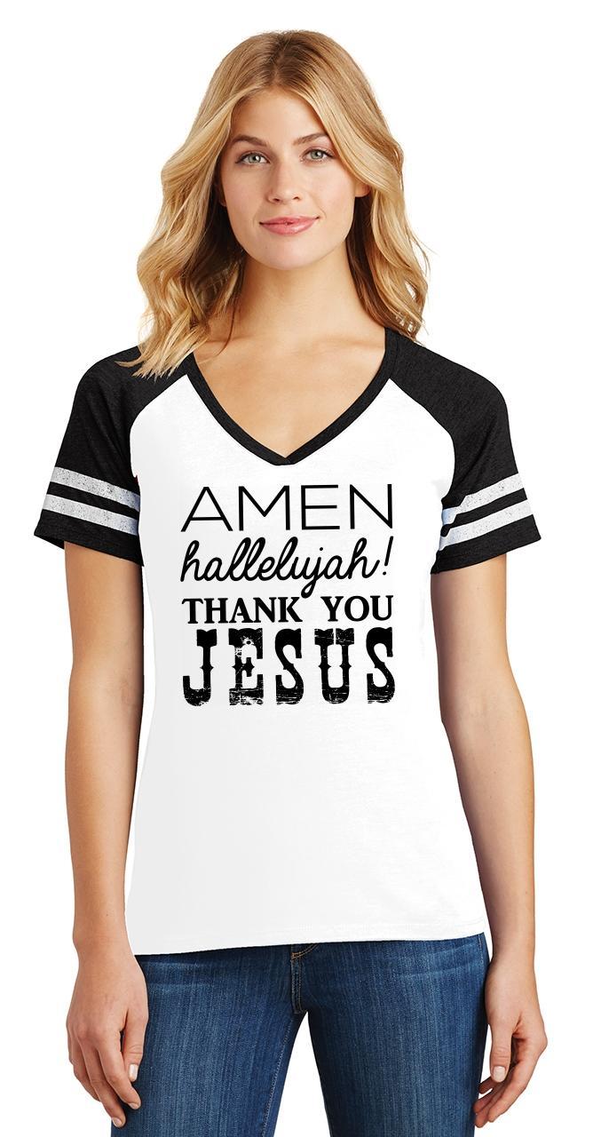 Ladies-Amen-Hallelujah-Thank-you-Jesus-Game-V-Neck-Tee-Religious-Shirt thumbnail 18