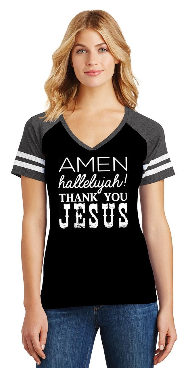 Ladies-Amen-Hallelujah-Thank-you-Jesus-Game-V-Neck-Tee-Religious-Shirt thumbnail 6