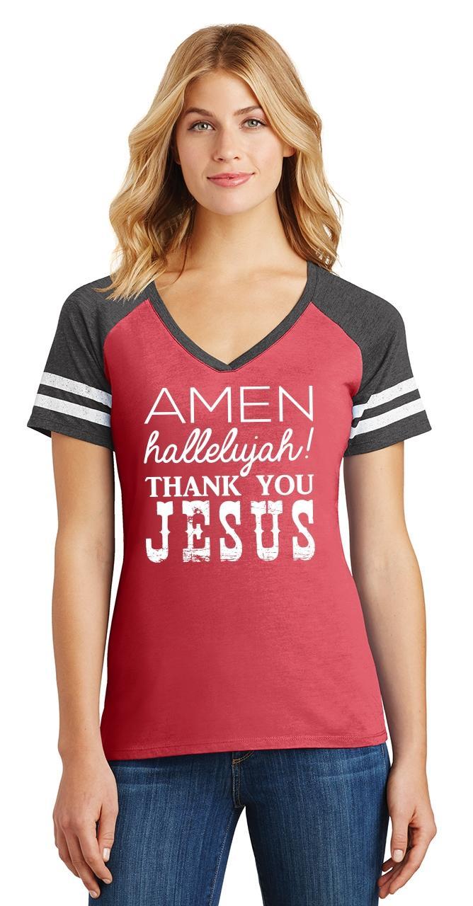 Ladies-Amen-Hallelujah-Thank-you-Jesus-Game-V-Neck-Tee-Religious-Shirt thumbnail 9