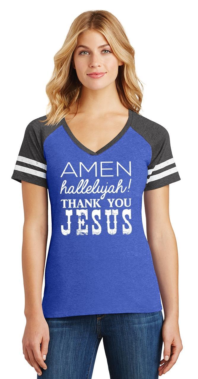 Ladies-Amen-Hallelujah-Thank-you-Jesus-Game-V-Neck-Tee-Religious-Shirt thumbnail 12