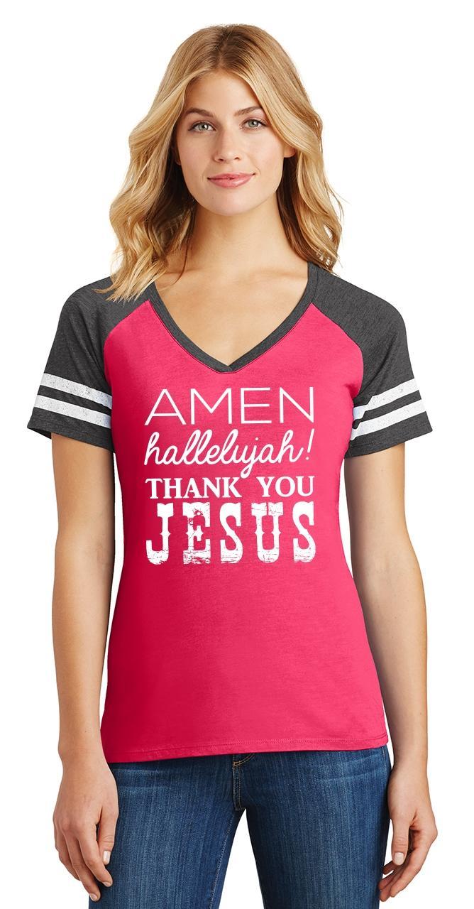 Ladies-Amen-Hallelujah-Thank-you-Jesus-Game-V-Neck-Tee-Religious-Shirt thumbnail 15