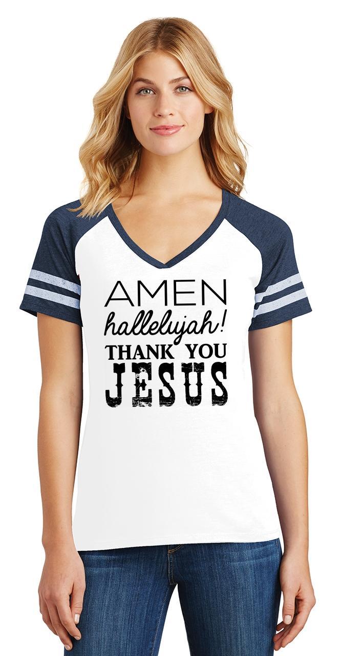 Ladies-Amen-Hallelujah-Thank-you-Jesus-Game-V-Neck-Tee-Religious-Shirt thumbnail 21