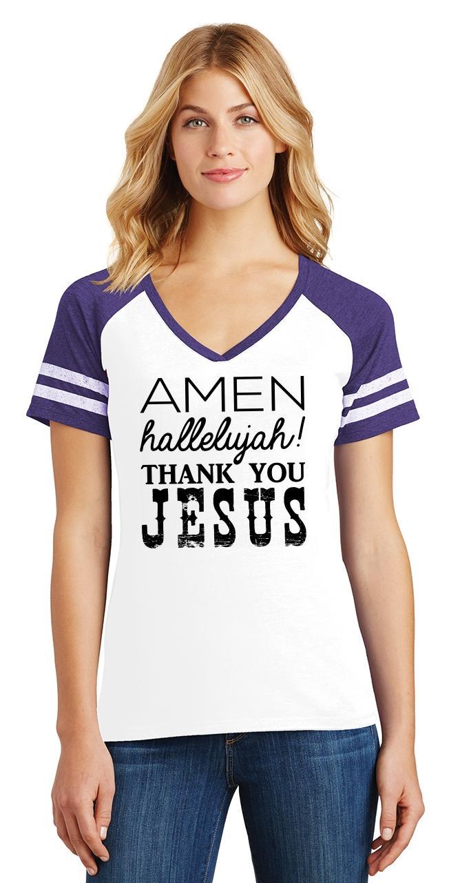 Ladies-Amen-Hallelujah-Thank-you-Jesus-Game-V-Neck-Tee-Religious-Shirt thumbnail 24