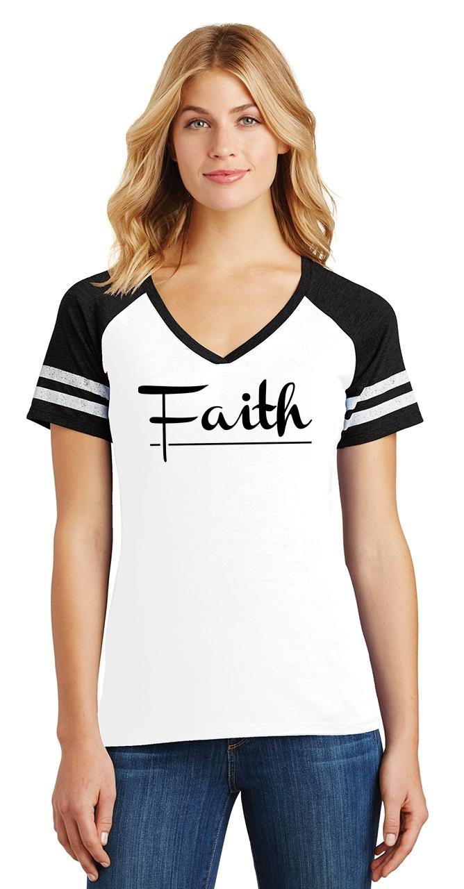 Ladies-Faith-Game-V-Neck-Tee-Religious-Christian-God-Shirt thumbnail 18